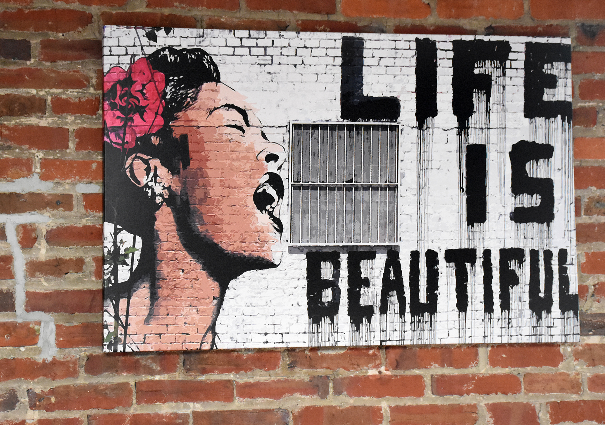 "Sprint of Banksy's ""Life as Beautiful"" featuring baltimore singer Billie Holiday"