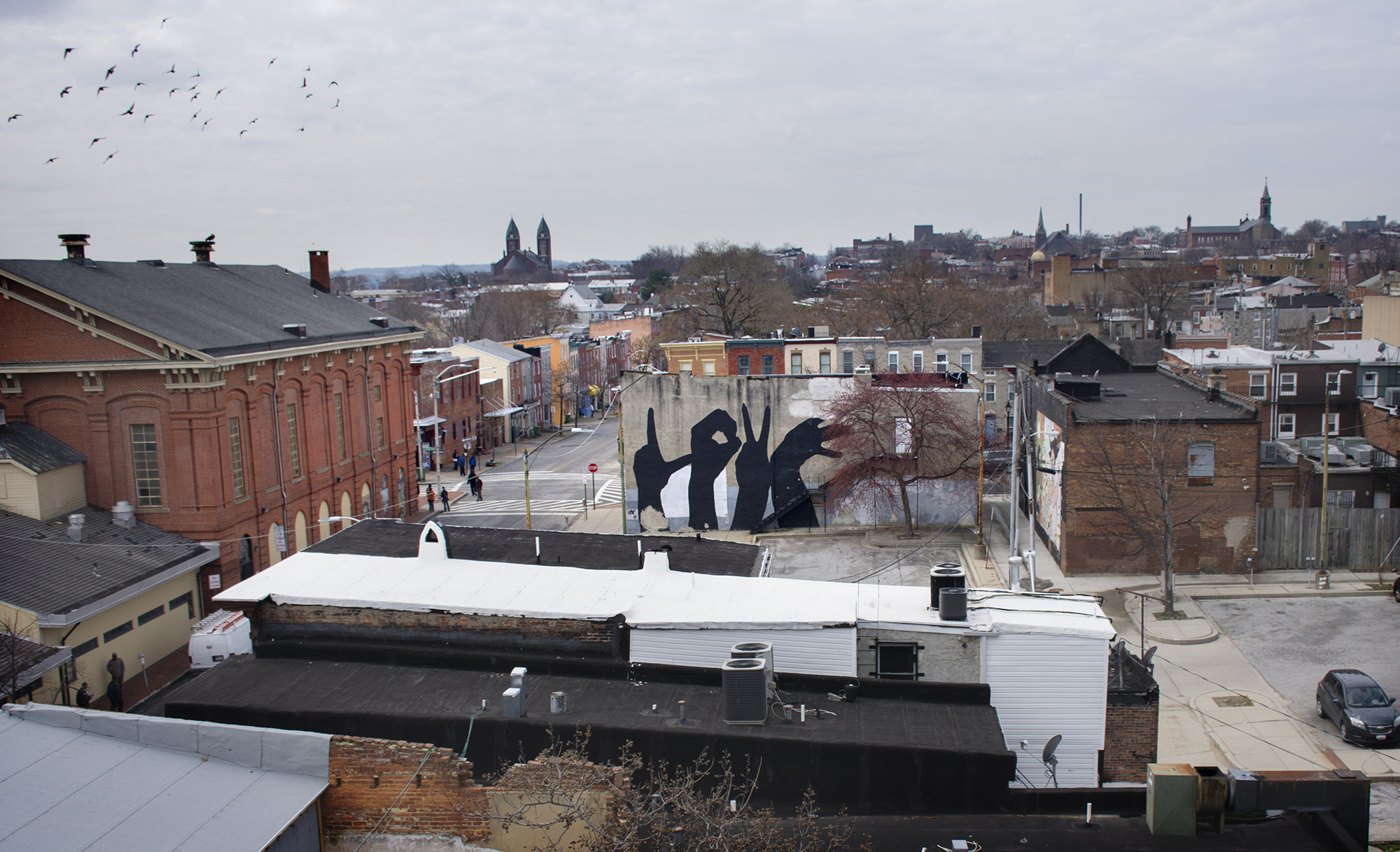 View of the Hollins Market neighborhood looking west from the rooftop of 1100 Hollins Street