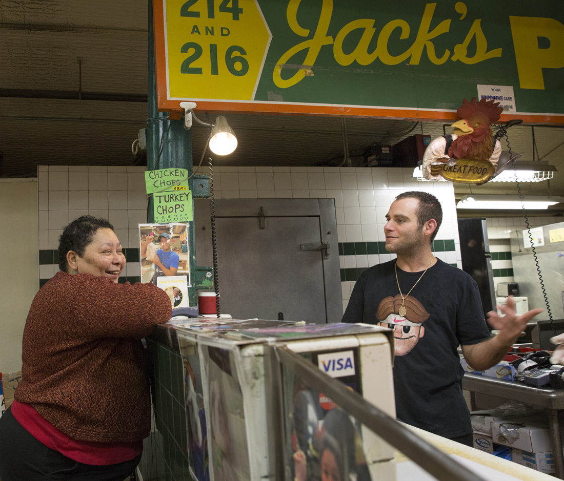 Ben David talks with Stephanie Brown, a customer who used to help her grandmother shop at Jack's Poultry when she was seven years old. She is still a customer now after a few decades, and she and Ben David knows each other on a first named basis.