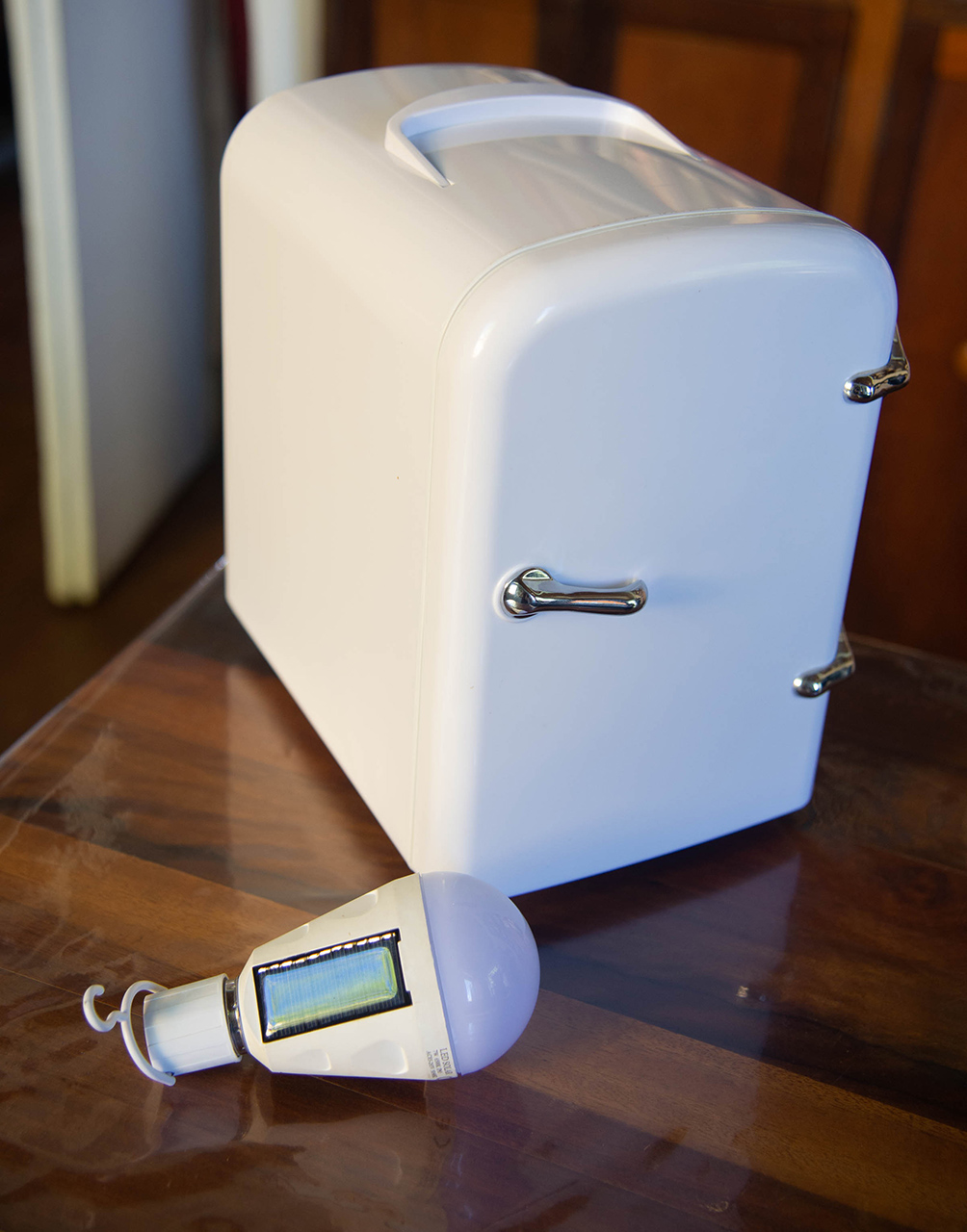 A solar lamp and mini fridge produced by Casa Pueblo. Photo by Valerie Welch