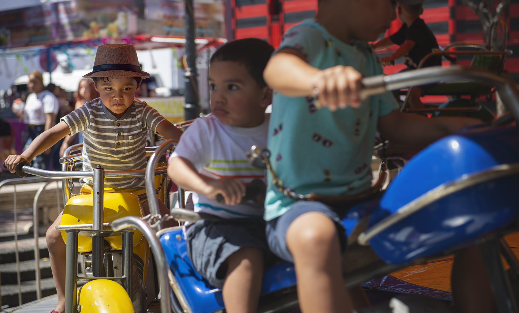 Children pack a ride in Ponce, Puerto Rico, during Carnival. Keeping school-aged kids on the island and in schools has been a challenge for educators since the double blow of Hurricanes Irma and Maria. Photo by Malia Schimminger