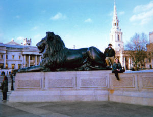 Gianluca Sanzone and a friend at Trafalgar Square in London. Photo courtesy of Gianluca Sanzone
